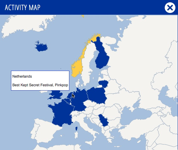 European Border Breakers Charts Activity map